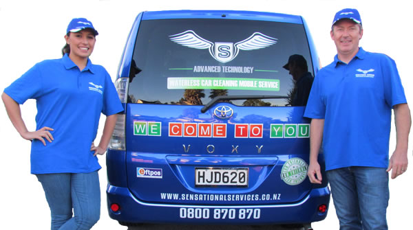 Sensational Services Workers Standing With Commercial Van
